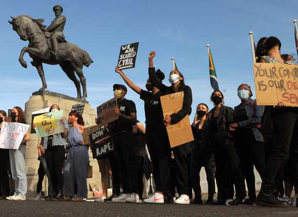 An independent group of people protest the scourge of GBV in South Africa, singing and shouting slogans. Picture: Tracey Adams/African News Agency (ANA)